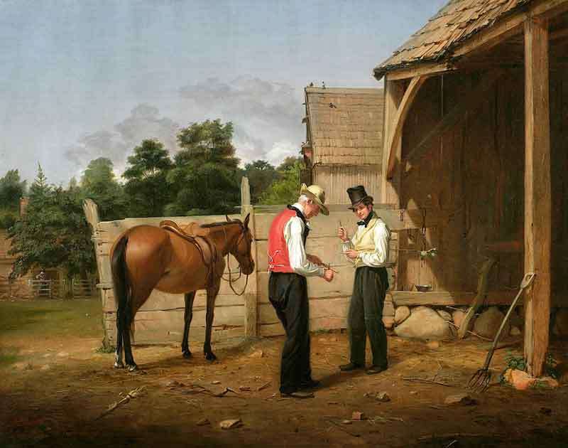 William Sidney Mount (1807–1868), Farmers Bargaining (later known as Bargaining for a Horse), 1835, oil on canvas. The New-York Historical Society, Gift of The New-York Gallery of the Fine Arts, 1858.59