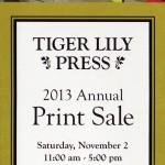 Tiger Lily Press Print Sale Nov 2 at Clifton Cultural Arts Center