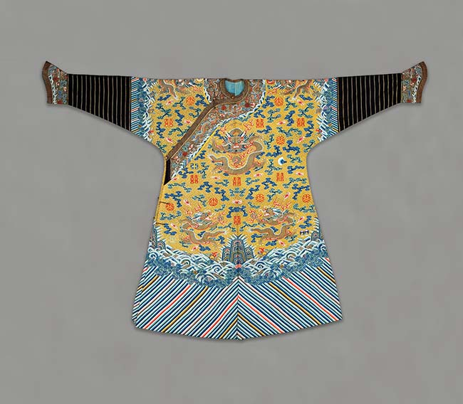 Imperial Manchu Man's Semiformal Court Robe with Twelve Symbols of Sovereignty