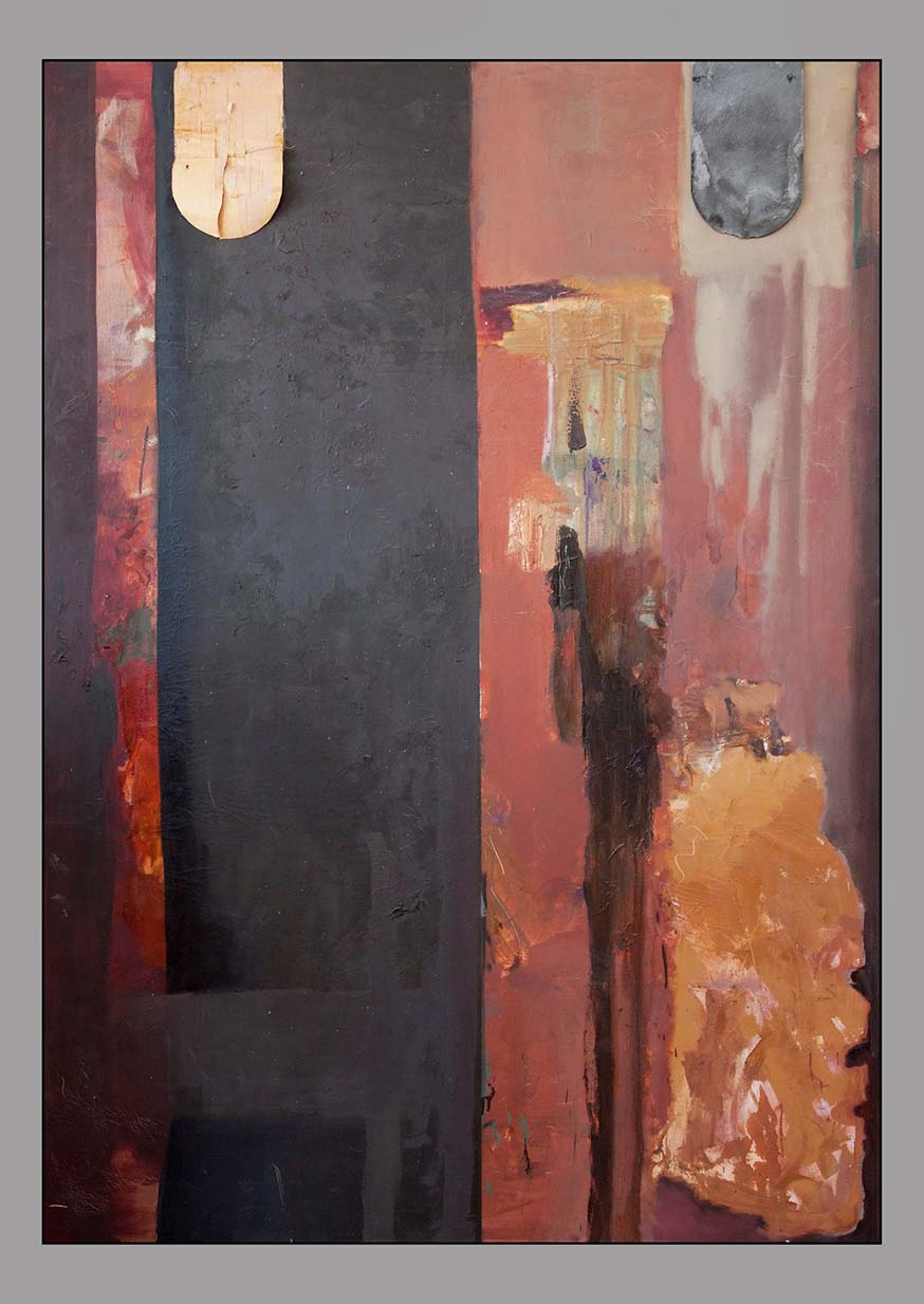 Nellie Taft - 2 - After and Before, 1991,  oil, slate, &  bark on canvas, 72 x 56 inches