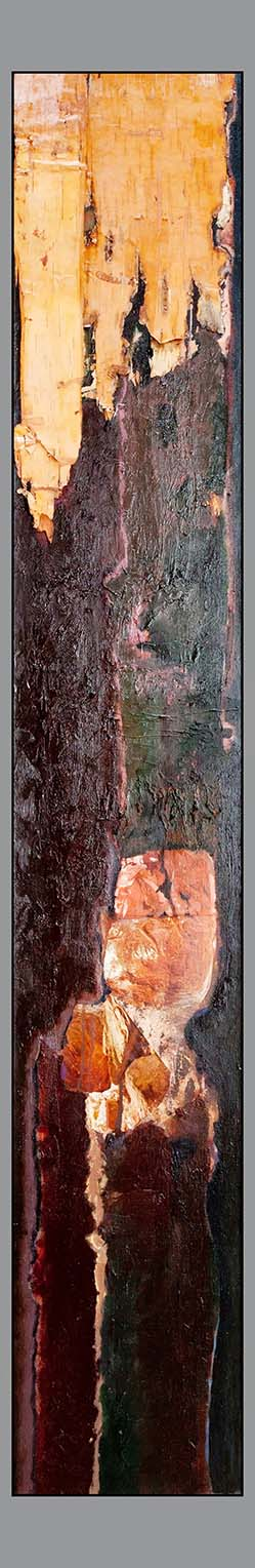 Nellie Taft - 3 - Birch Black bark oil 72 x 12 inches