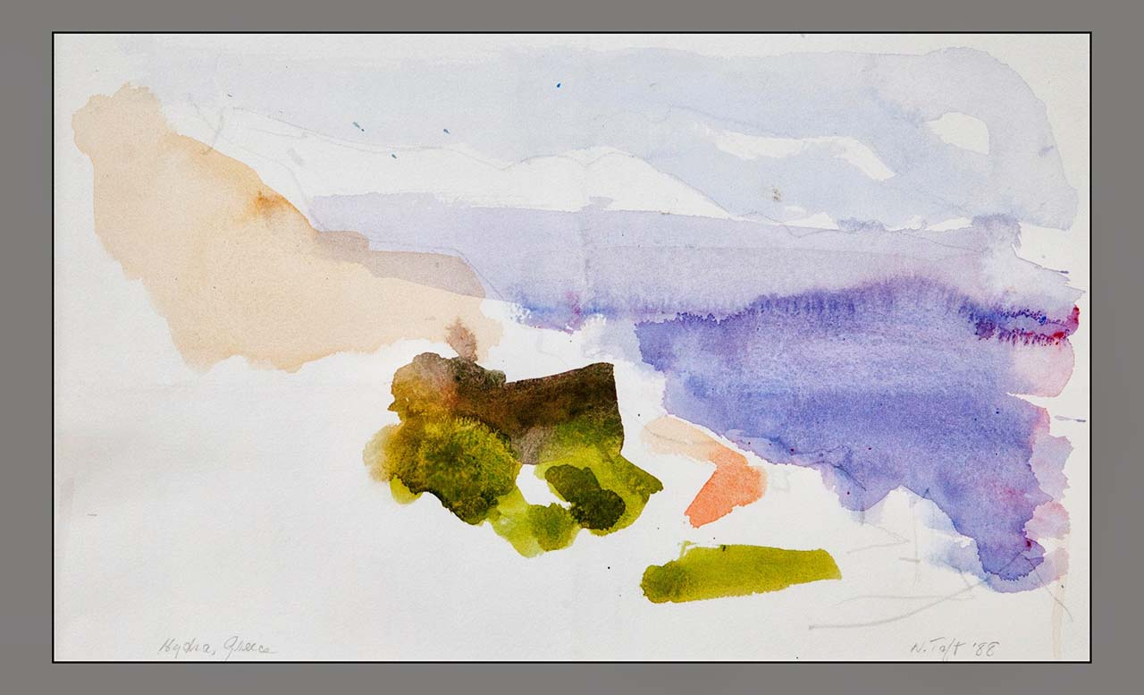 Nellie Taft - 5 - Hydra, Greece, 1988, water color on paper,  15 x 20 inches (matted)