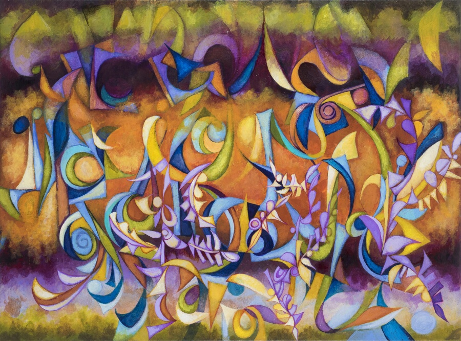 Figs_Dancing_in_the_Midnight_Mist,_by_Cedric_Michael_Cox,_30_x_40_inches,_acryulic_on_canvas,_2014_resized