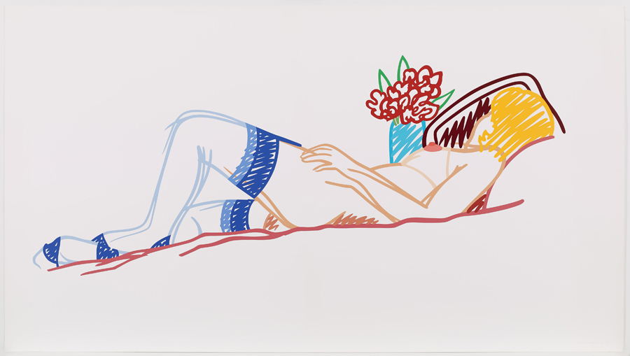 Nude with Bouquet and Stockings, 1991, Screenprint