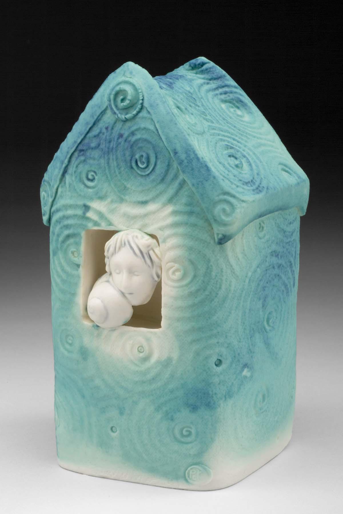 swirled blue house w girl