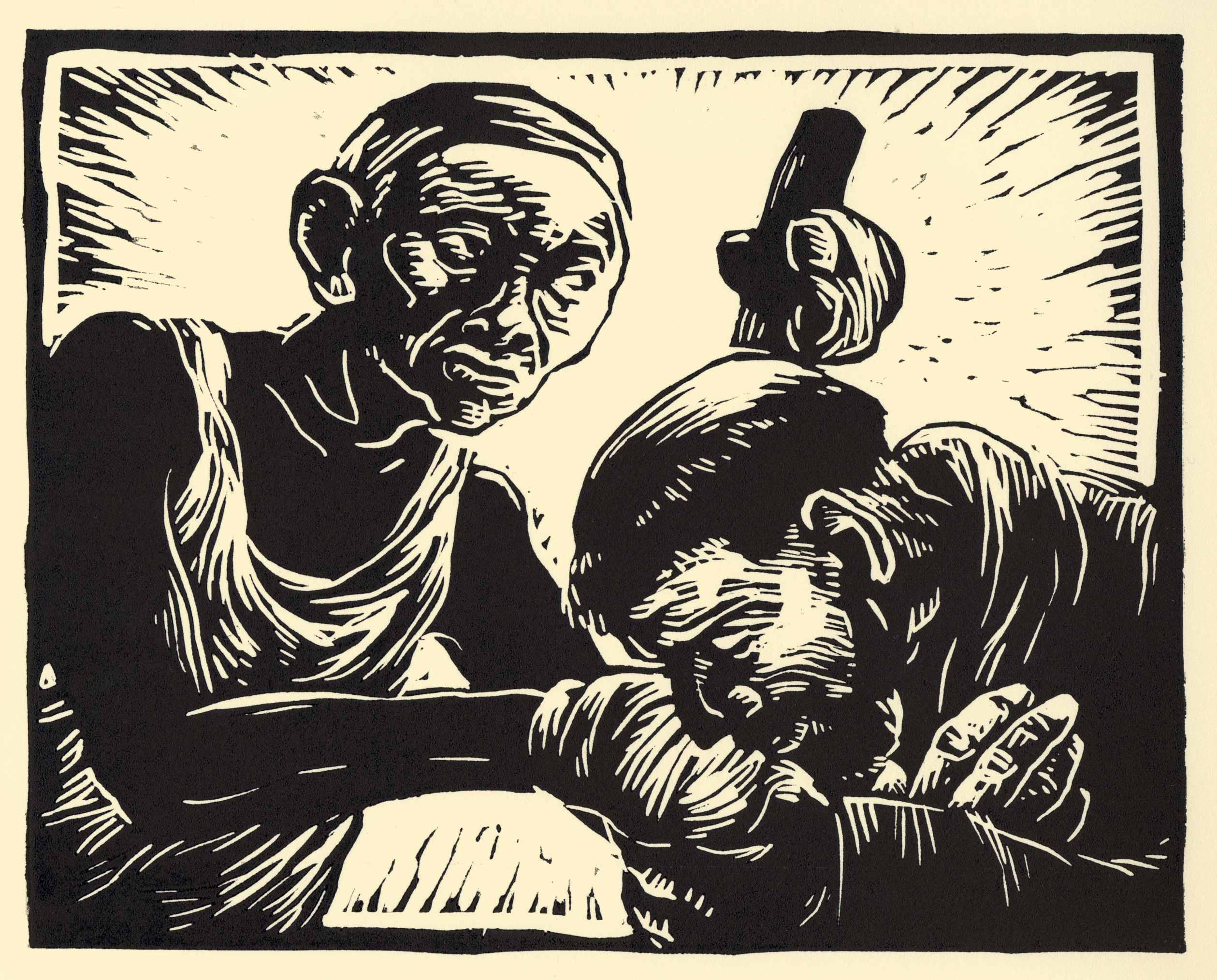 1. Francis Greets a Leper, linocut