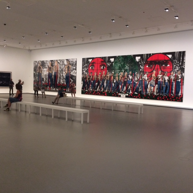 Use this photo third. Caption Part of Gilbert and George's triptych in a