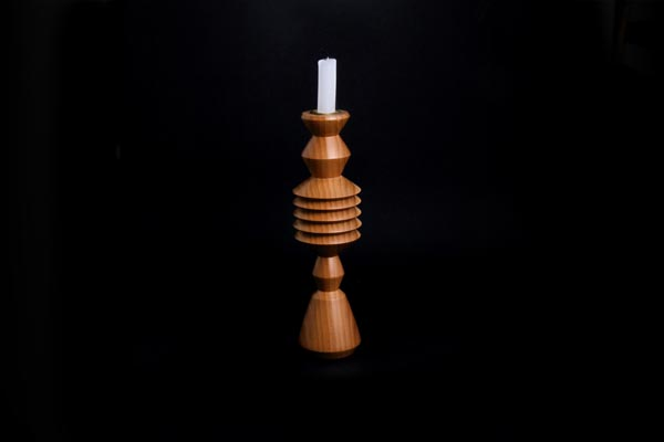 6) (Mod Living) BRUSH FACTORY, Candle sticks. solid hand turned poplar