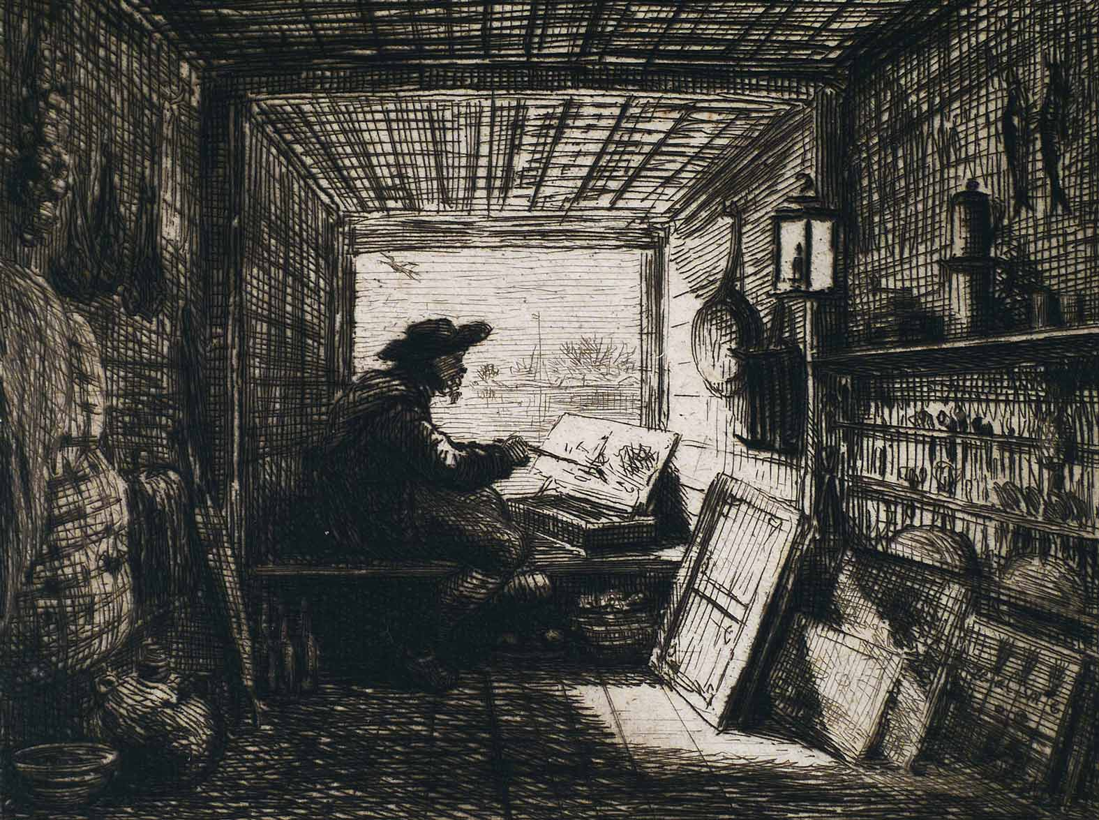 2-Daubigny,-The-Studio-on-the-Boat,-1861