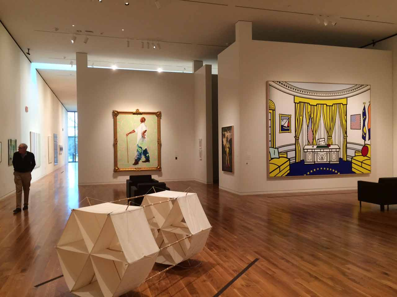 new-gallery-with-Lichtenstein-and-Wiley-paintings