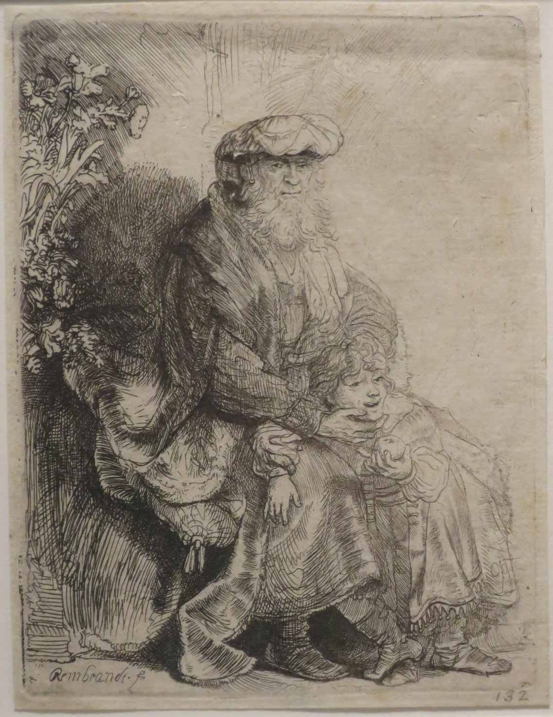 4-Rembrandt-Abraham_Caressing_Isaac,_etching_by_Rembrandt,_Honolulu_Museum_of_Art