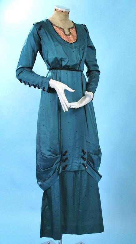 1910 Teal Silk Hobble Dress #2