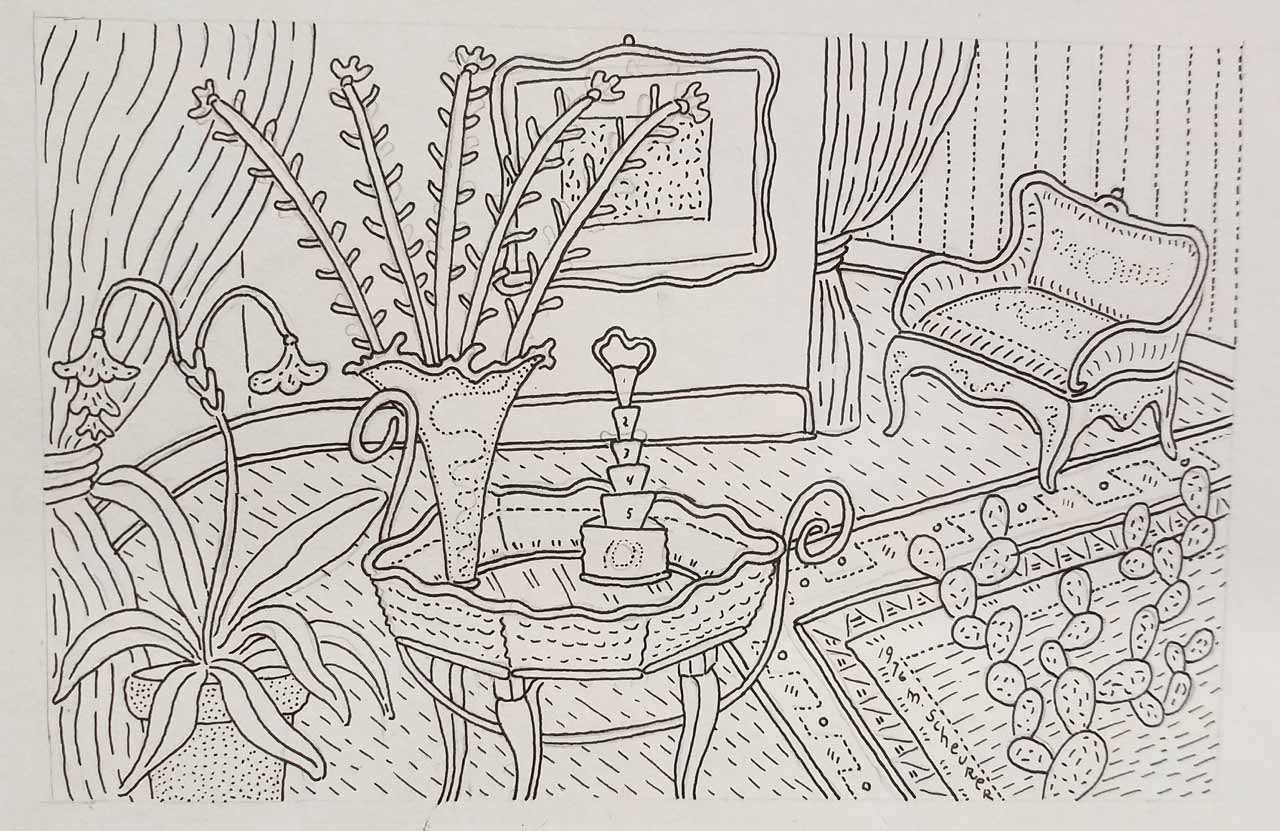 2-Scheurer,-Michael---Untitled,-1976,-pen-and-ink-line-drawing-on-paper,-approx.-4-x-5