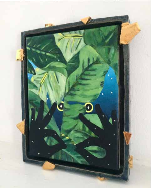 1_EmilyWeiner_Night_2017_oil_on_linen_in_ceramic_frame_with_luster_13inx11in-from-UNDERTHEPAVINGSTONES-benefittingDirectReliefforPuertoRico