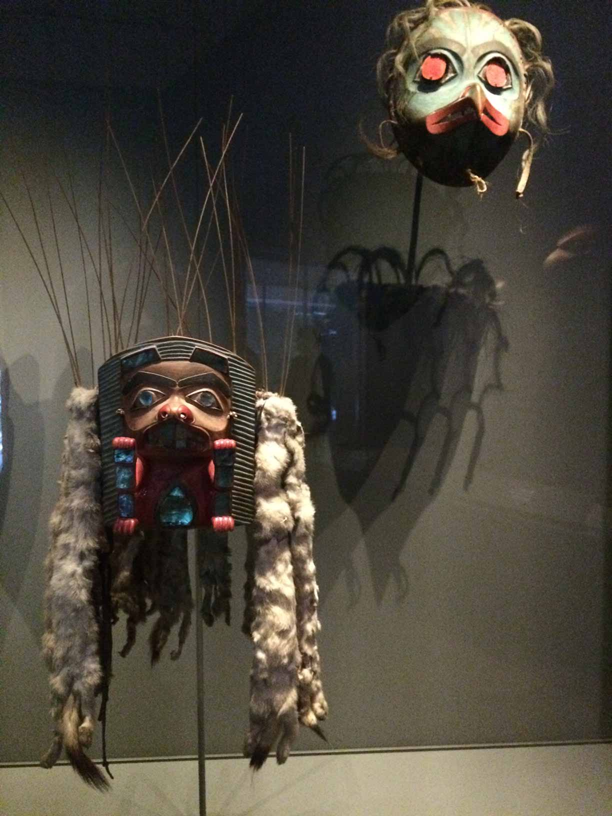 3Ceremonial-Masks-Tlingit-nation,-c--1840,-wood-with-pigment,-abalone,-hide,-ermine,-felt,-baleen-and-sea-lion--whiskers,-Audain-Art-Museum-Collection