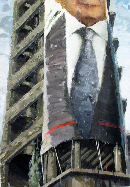 11. Omar Fakhoury_ Building with Tie, oil on canvas, 2018