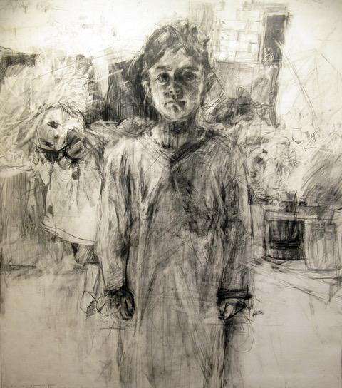 16. Hala Ezzeddine_ Shahd, pencil on paper stretched on canvas, 168x149cm, 2016