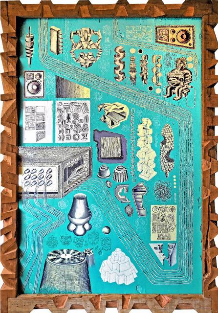 1. francisco javier jimenez hernandez_ doble arqueologia, 2018_ acrilico sobre madera y marco tallado de madera_ 193x132 cm