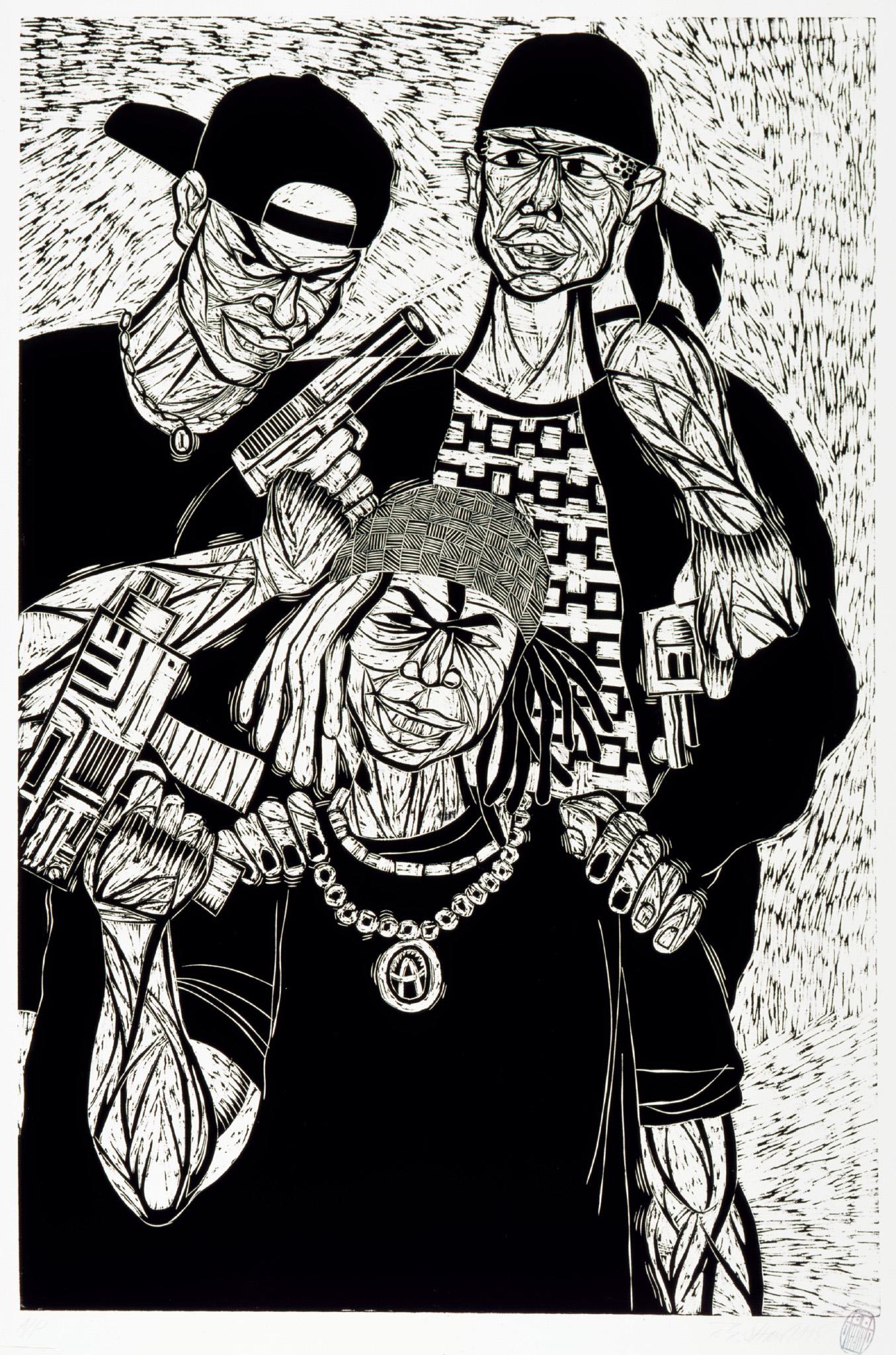 1. Family, woodcut print, 1995, 48x32
