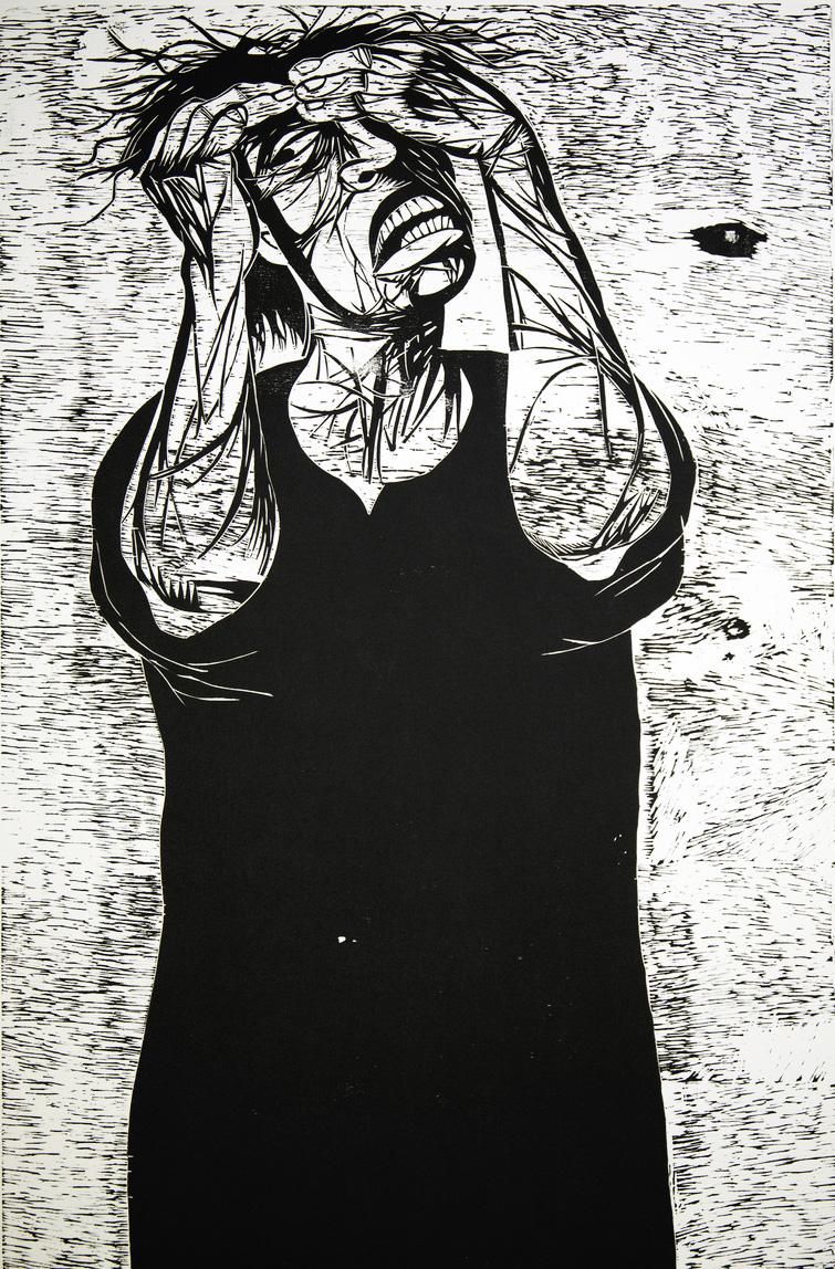 5. Crying Woman, woodcut print, 1994, 48x32