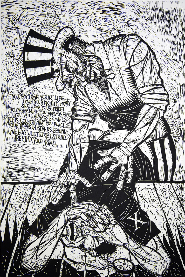 6. You Boy, I Own Your Life, woodcut print, 1994, 48x32