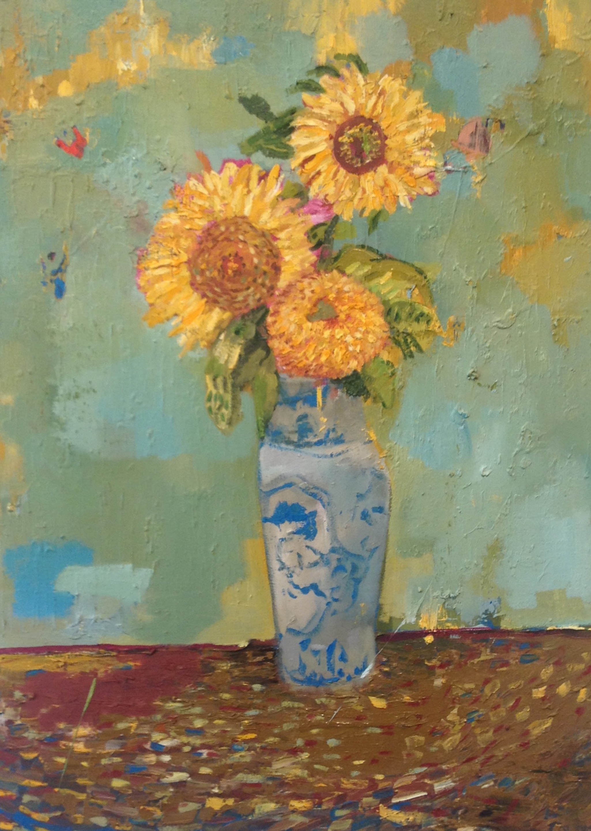 3 sunflowers in chinese vase, 2014, oil on canvas,27_x19.5_