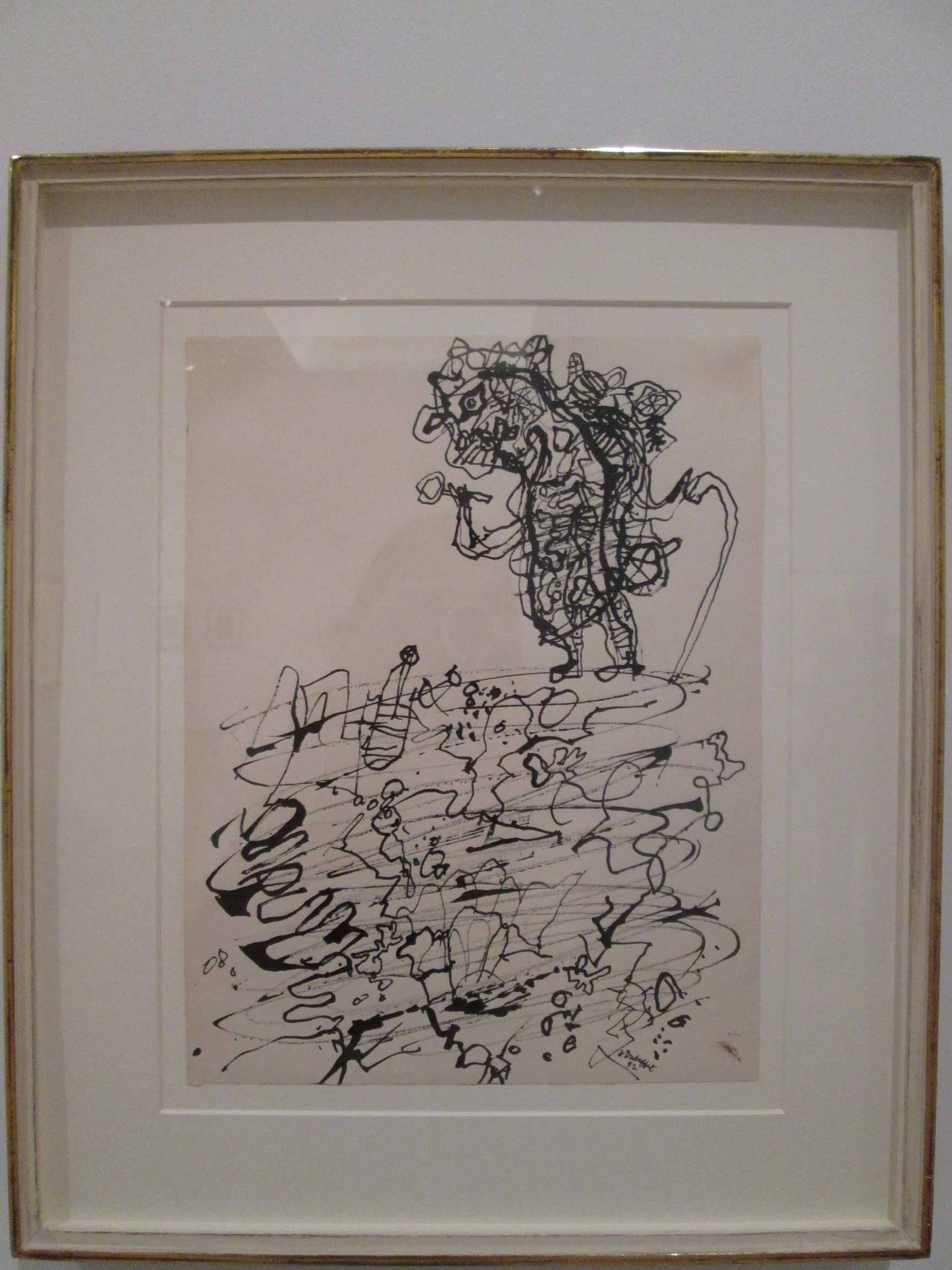 Jean-Dubuffet,-Géologue-à-la-loupe-et-à-la-canne-(Geologist-with-Magnifying-Glass-and-Cane),-reed-pen-and-india-ink,-1952